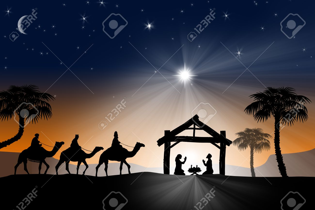 Christian Christmas.Traditional Christian Christmas Nativity Scene With The Three