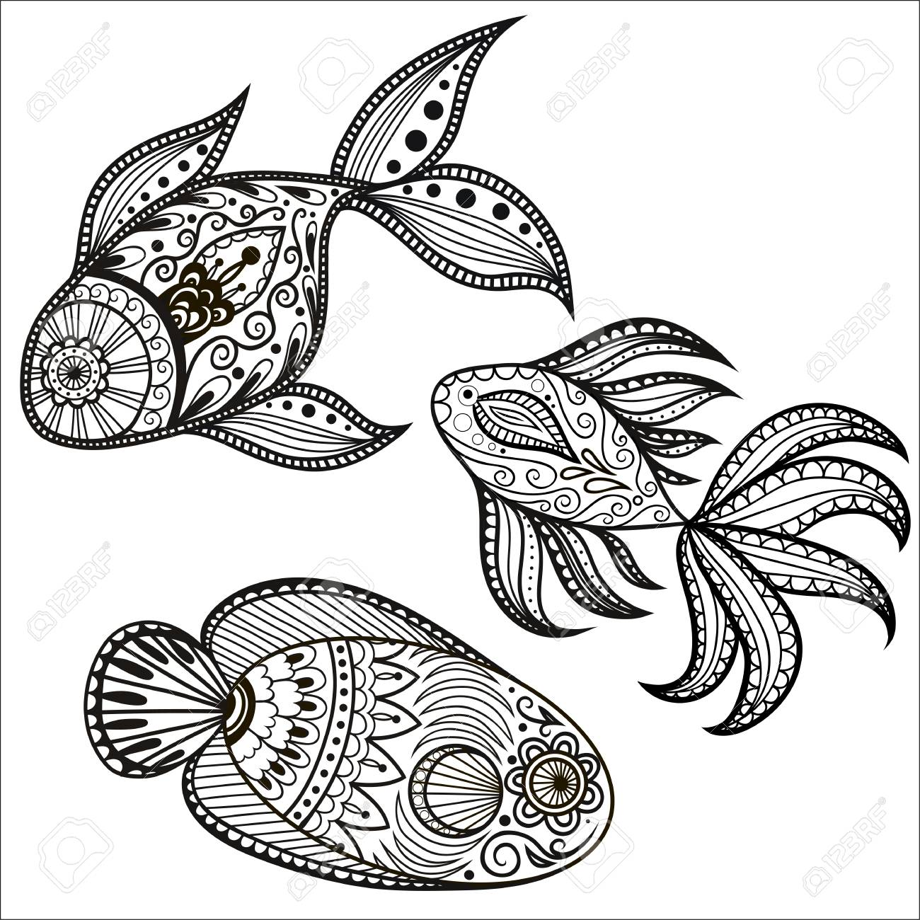 A Set Of Fish Sketch Icons Vector Isolated Aquarium Fishnet