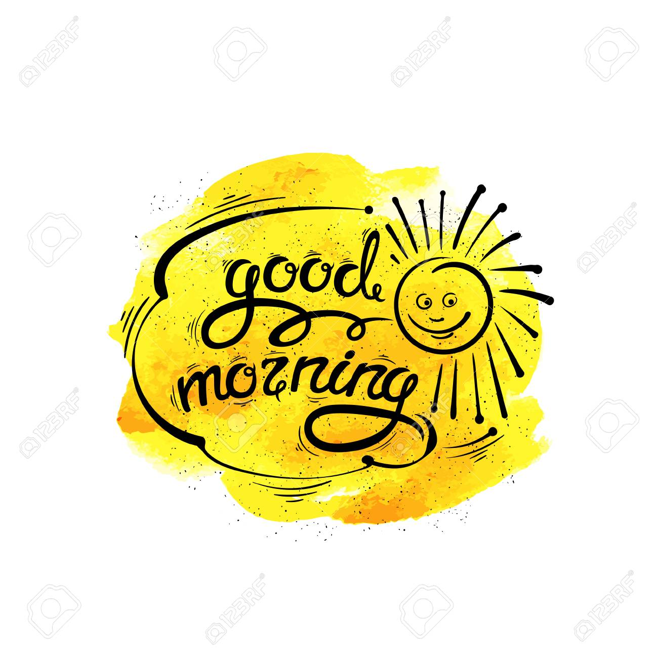 Good Morning Vector Hand Drawn Letters Sun Fun Royalty Free