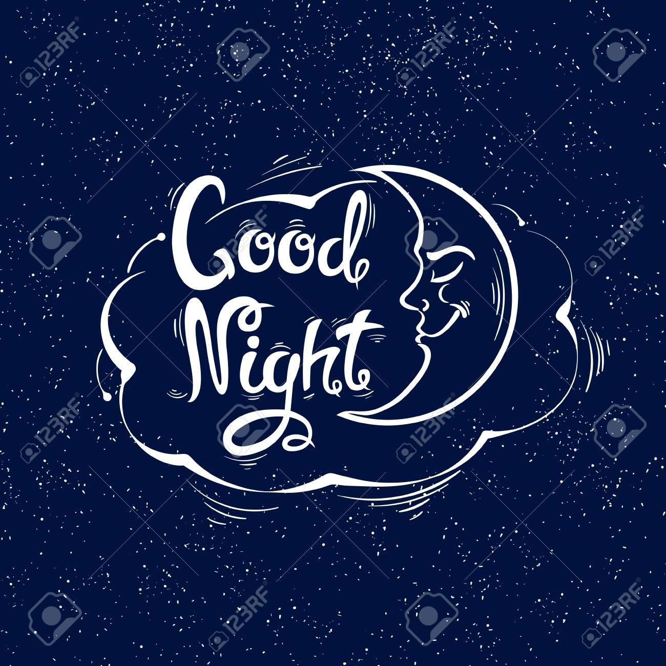 Image Bonne Nuit bonne nuit. le mois et le nuage. lettres dessinées à la main