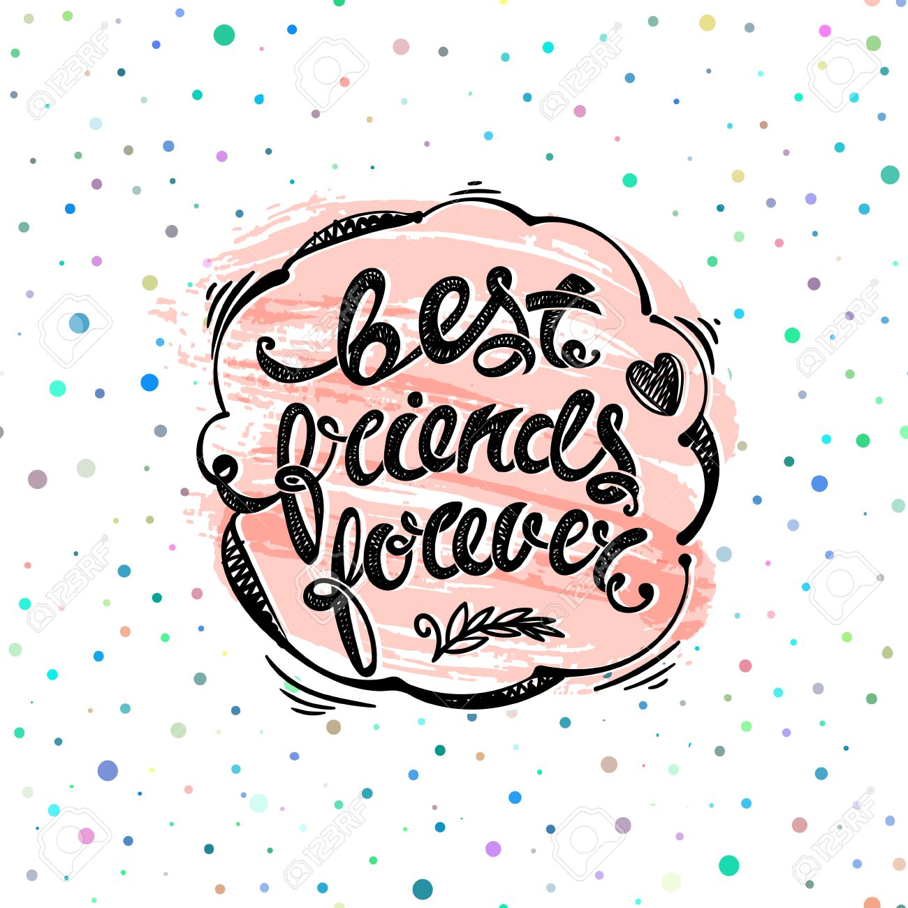 Best Friends Forever Hand Drawn Letters Royalty Free Cliparts