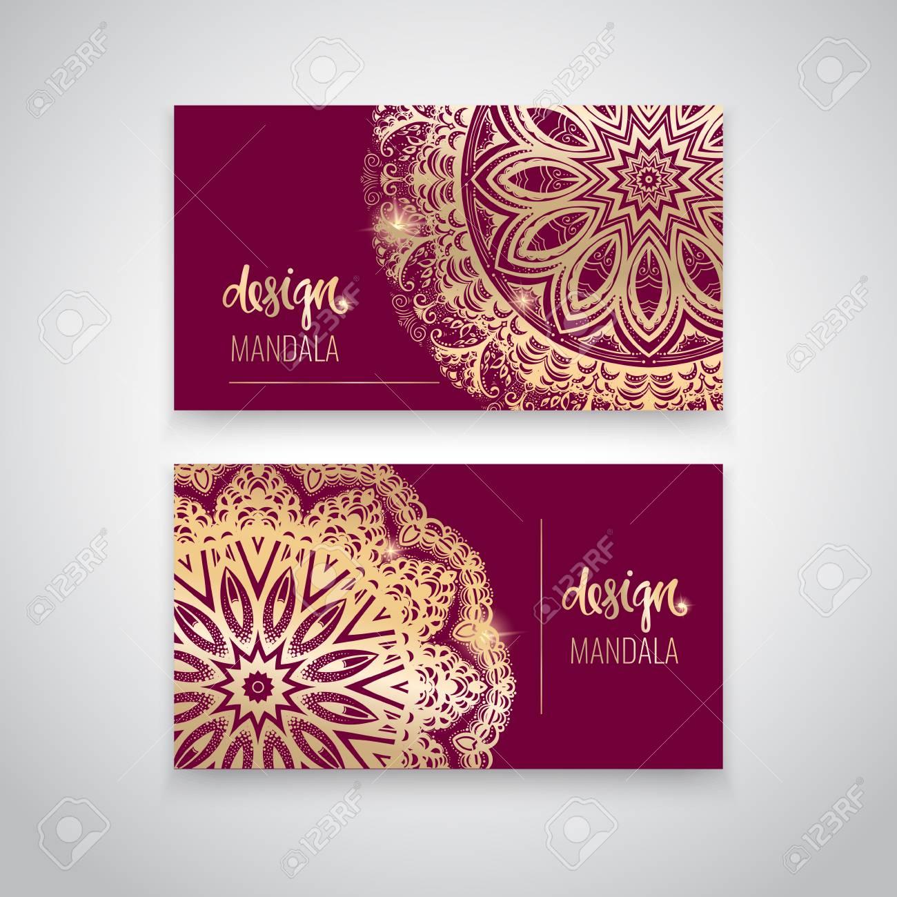 Plantilla Moderna Para El Diseño Mandala India Hermosa Del Modelo En Color Oro Se Puede Usar Para Crear Tarjetas De Visita Invitaciones Para