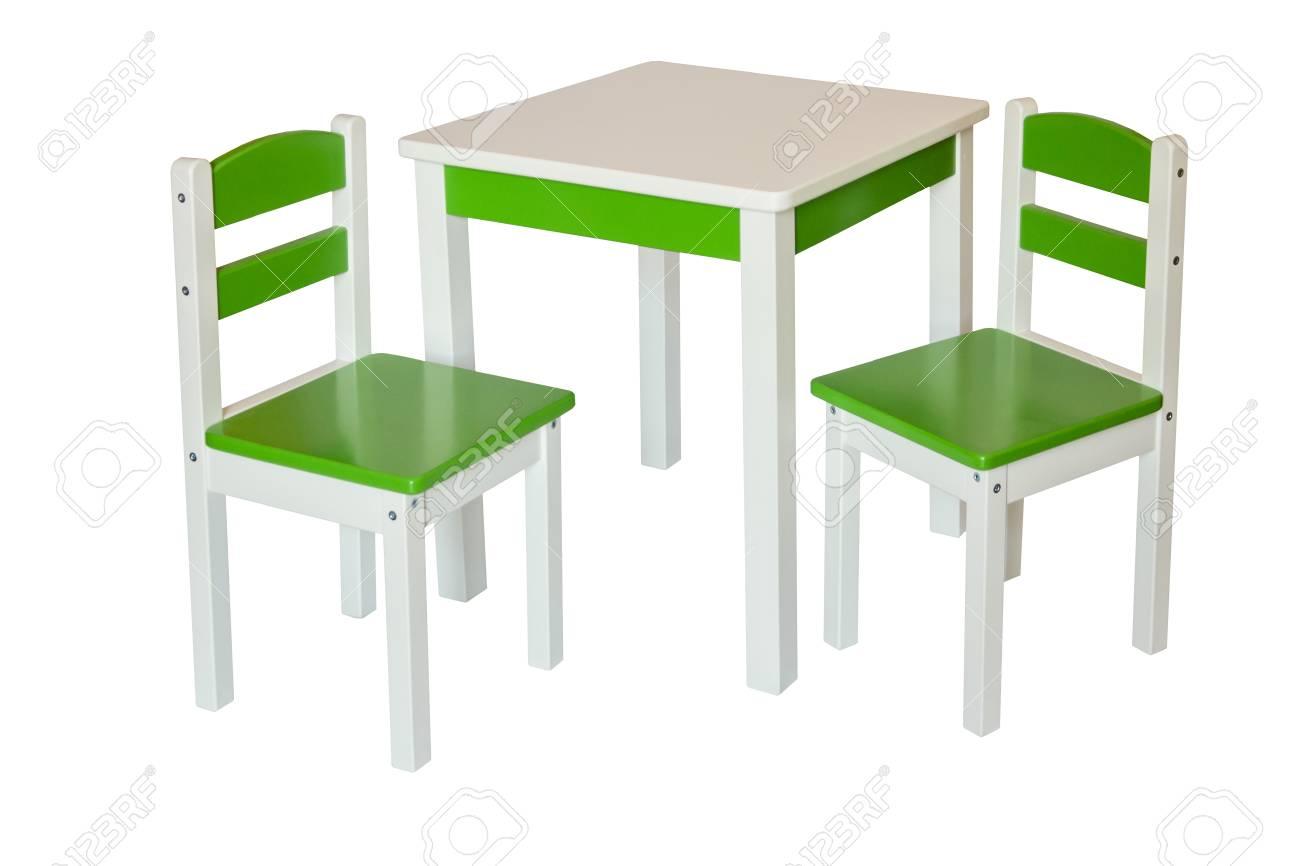 Twee stoel en tafel voor kinderen. geïsoleerd. royalty vrije foto