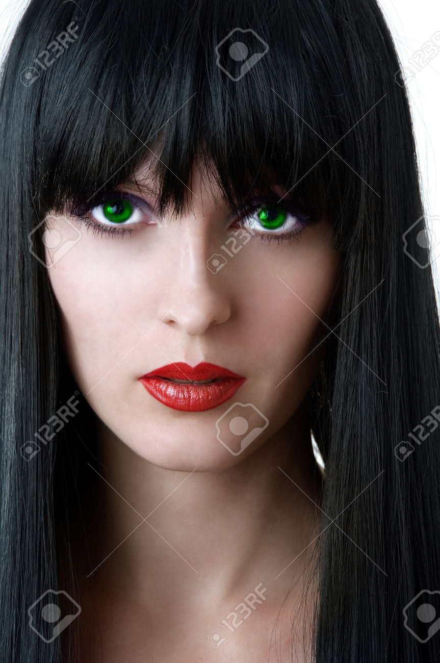 Fashion Portrait Of Glamour Woman With Green Eyes Black Hair Stock