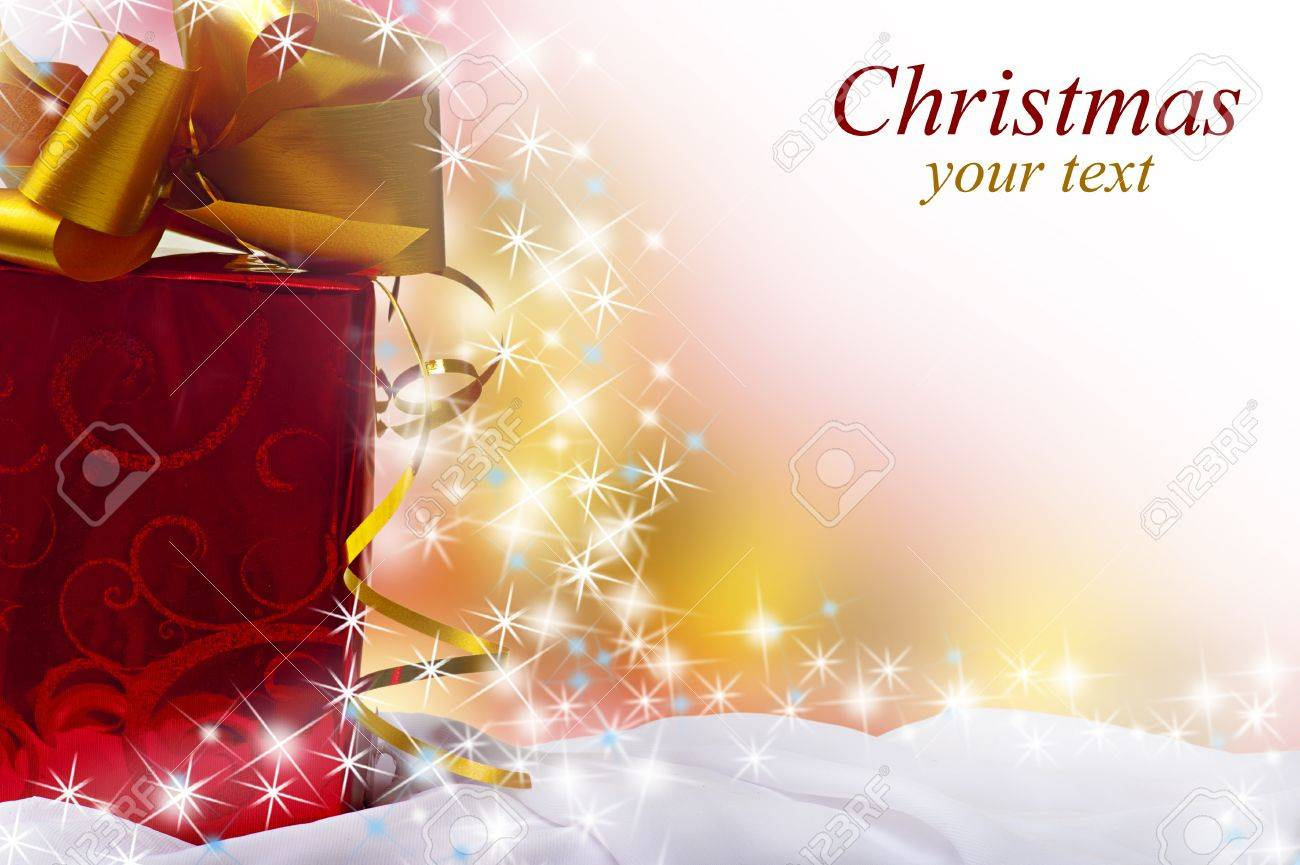 Christmas gift and copyspace for sample text on white blur background Stock Photo - 11367782