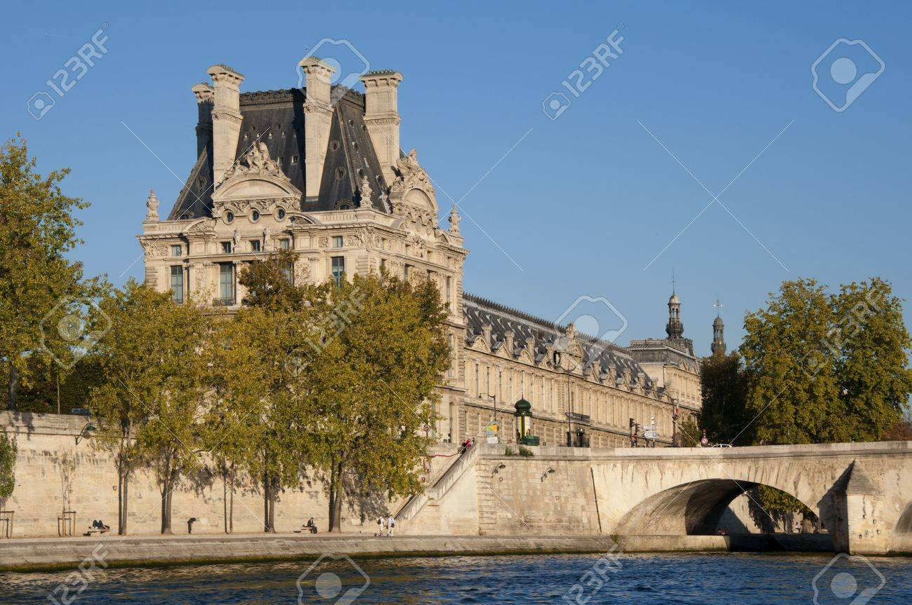 View of the famous museum Louvre from the Seine river  Paris, France   Stock Photo - 13162070