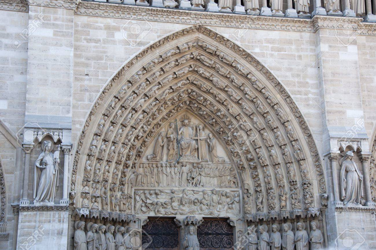 Detail of gothic Cathedral of Notre Dame in Paris  Statues Stock Photo - 13172997