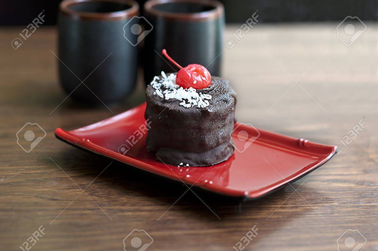 Beautiful Chocolate Cake With Cherry Japan Desert Stock Photo