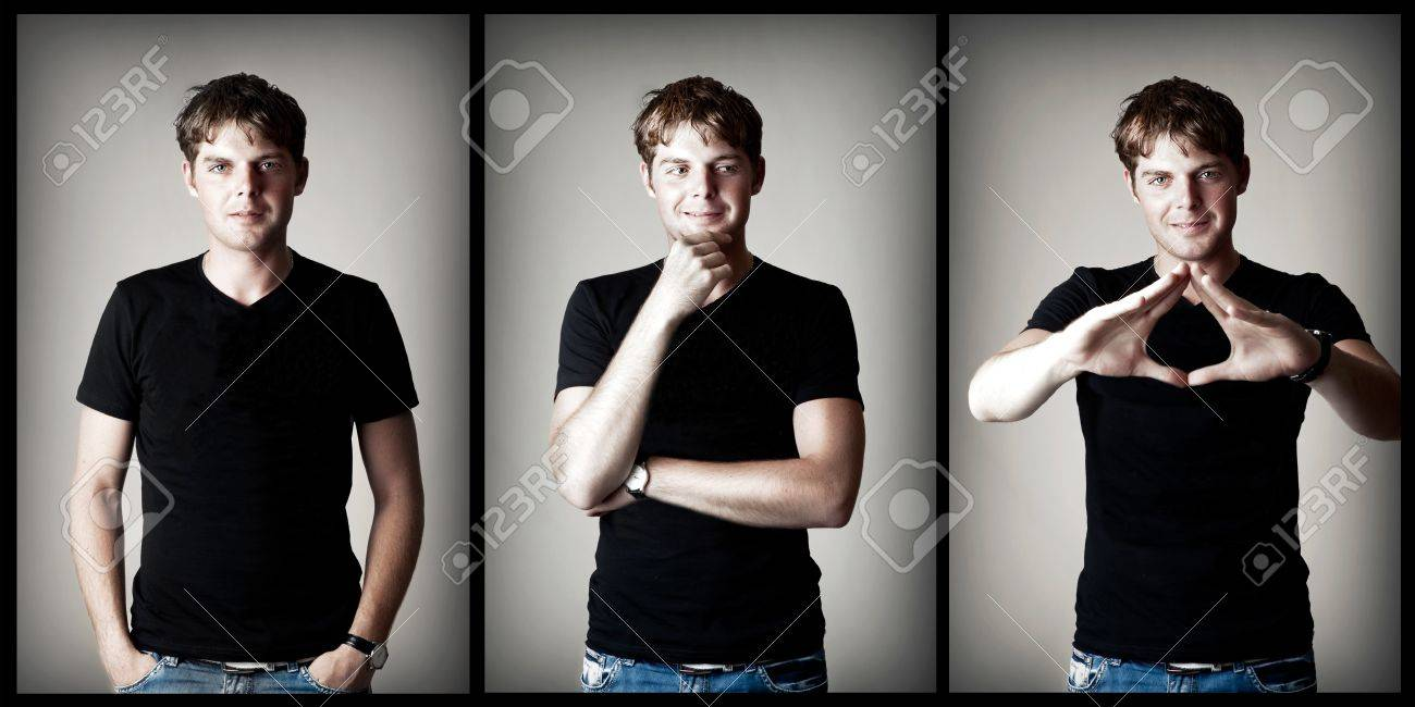 Young sexy man model in black t-shirt on gray background Stock Photo - 13664335