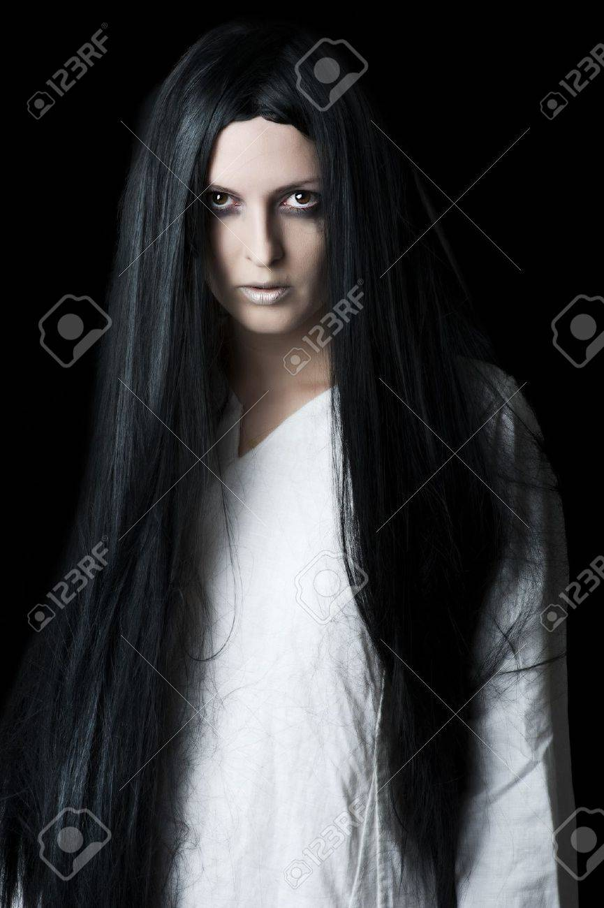 Young brunette woman with long black hair Stock Photo - 13889016