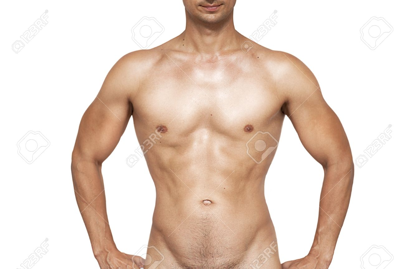 Nude wet muscular torso of unknown man isolated on white background Stock Photo - 14349638