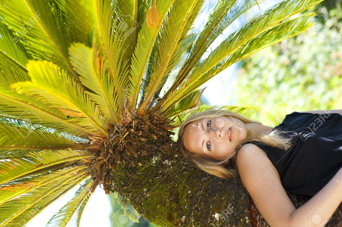 Young woman lying on a palm tree on a tropical resort Stock Photo - 14426050