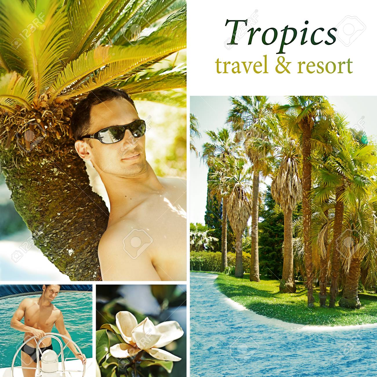 Young man relax on a tropical resort concept. Collage Stock Photo - 14558949