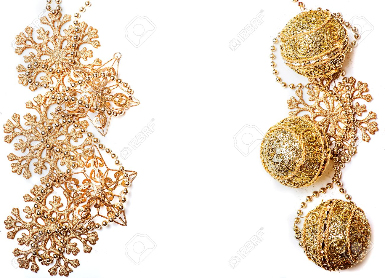 golden christmas decorations border or frame gold snowflakes stars beads and balls stock