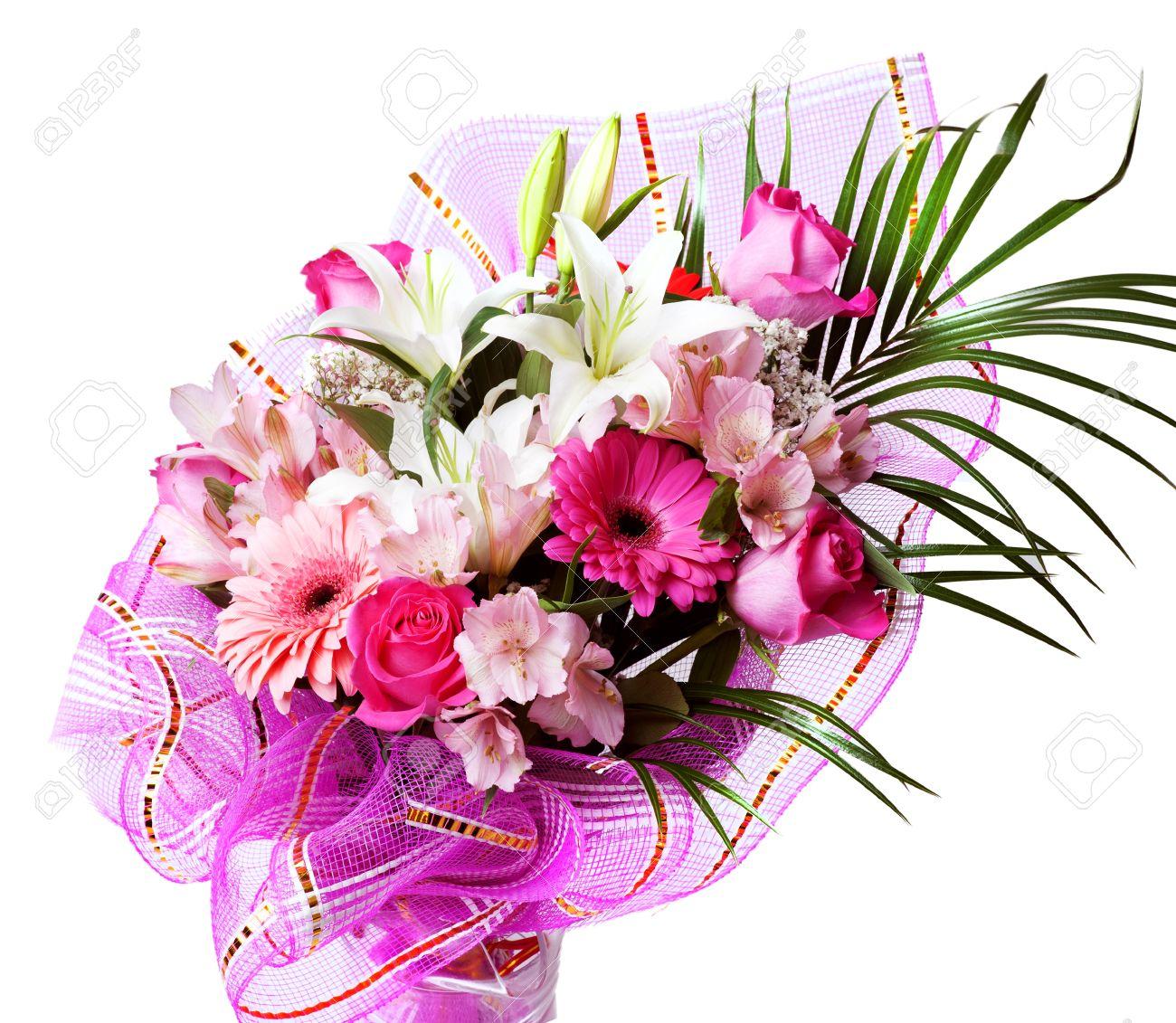 Douces Fleurs Printanieres Roses Et Blanches Bouquet Avec Rose