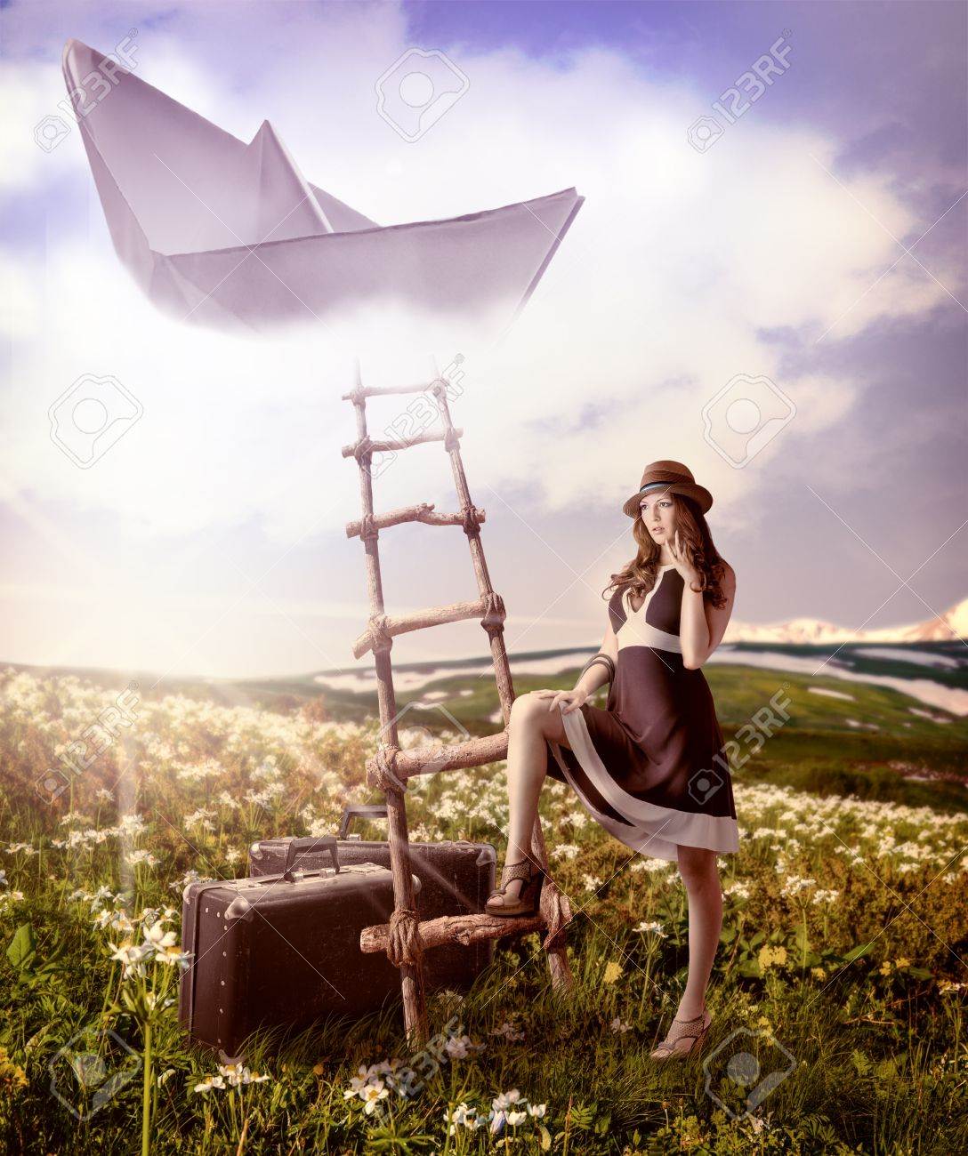 Dreaming About Travel Beautiful Woman With Suitcases Standing Near The Ladder To Flying Paper Boat