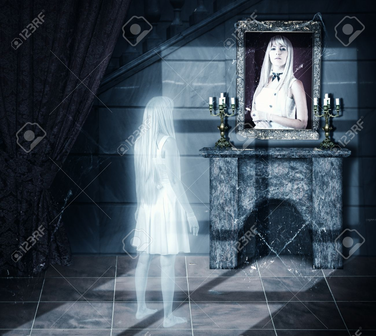 Sad white transparent woman ghost looking on her portrait on a wall in old castle Stock Photo - 22028333