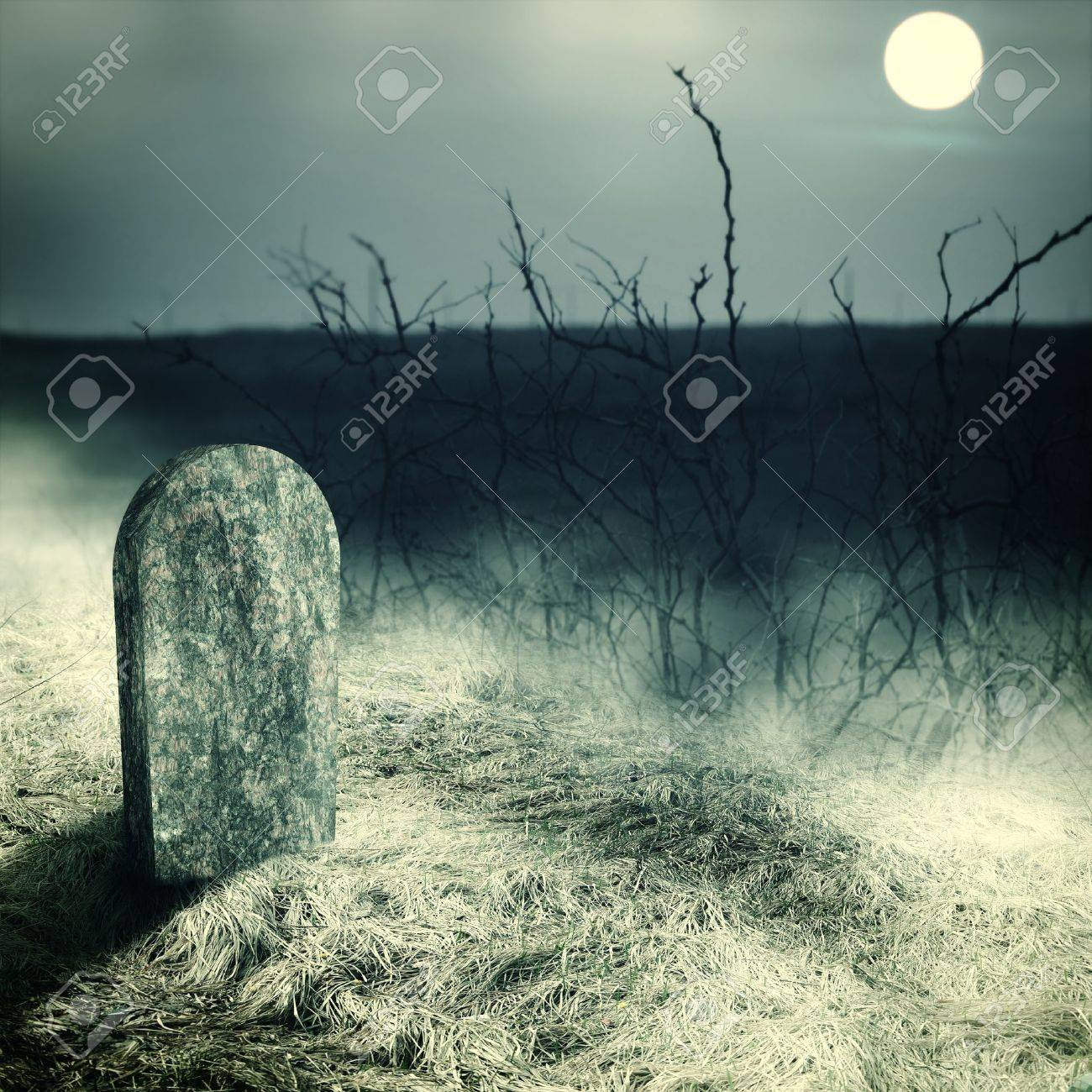 gravestone on old cemetery. Midnight with full moon Stock Photo - 22033424