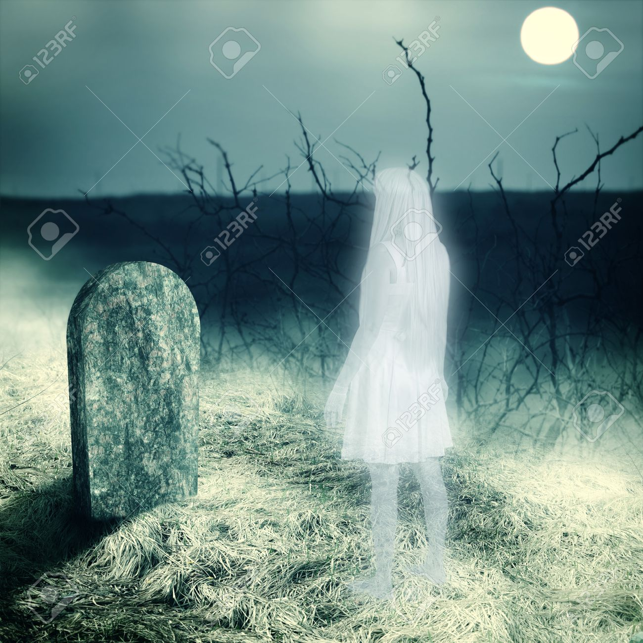 Young white transparent woman ghost look on her grave gravestone on old cemetery  Midnight with full moon Stock Photo - 22626817