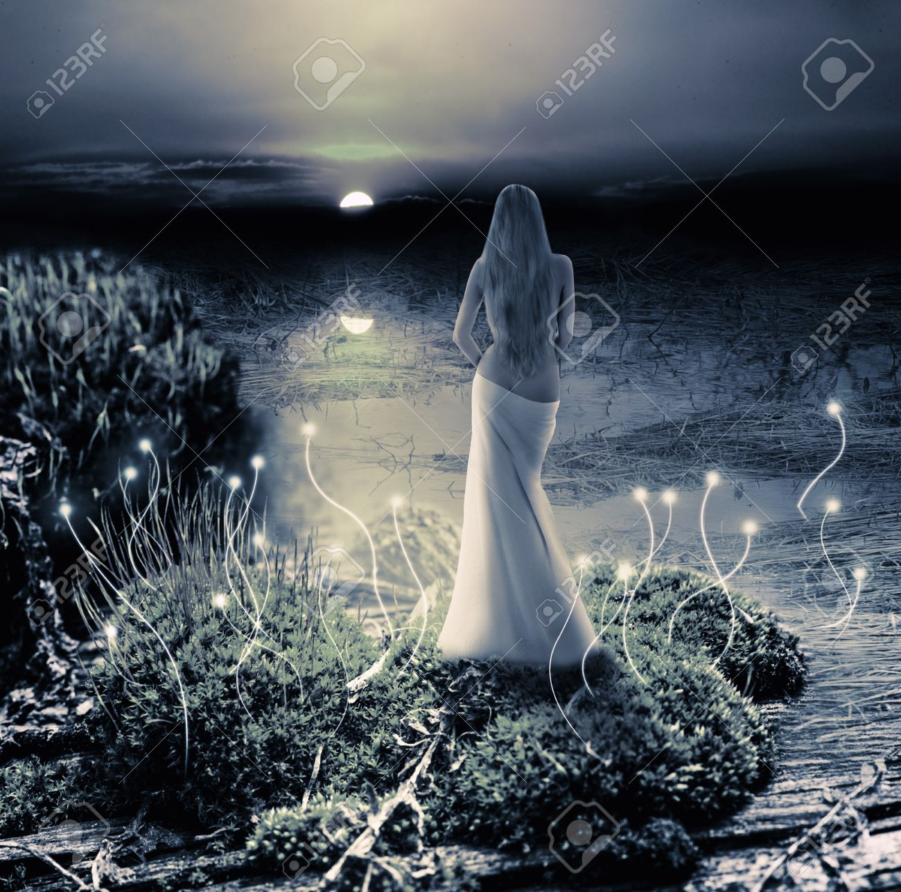Fantasy magic world. Fairy or mermaid standing on green island in  lake and watching on moon Stock Photo - 24663283