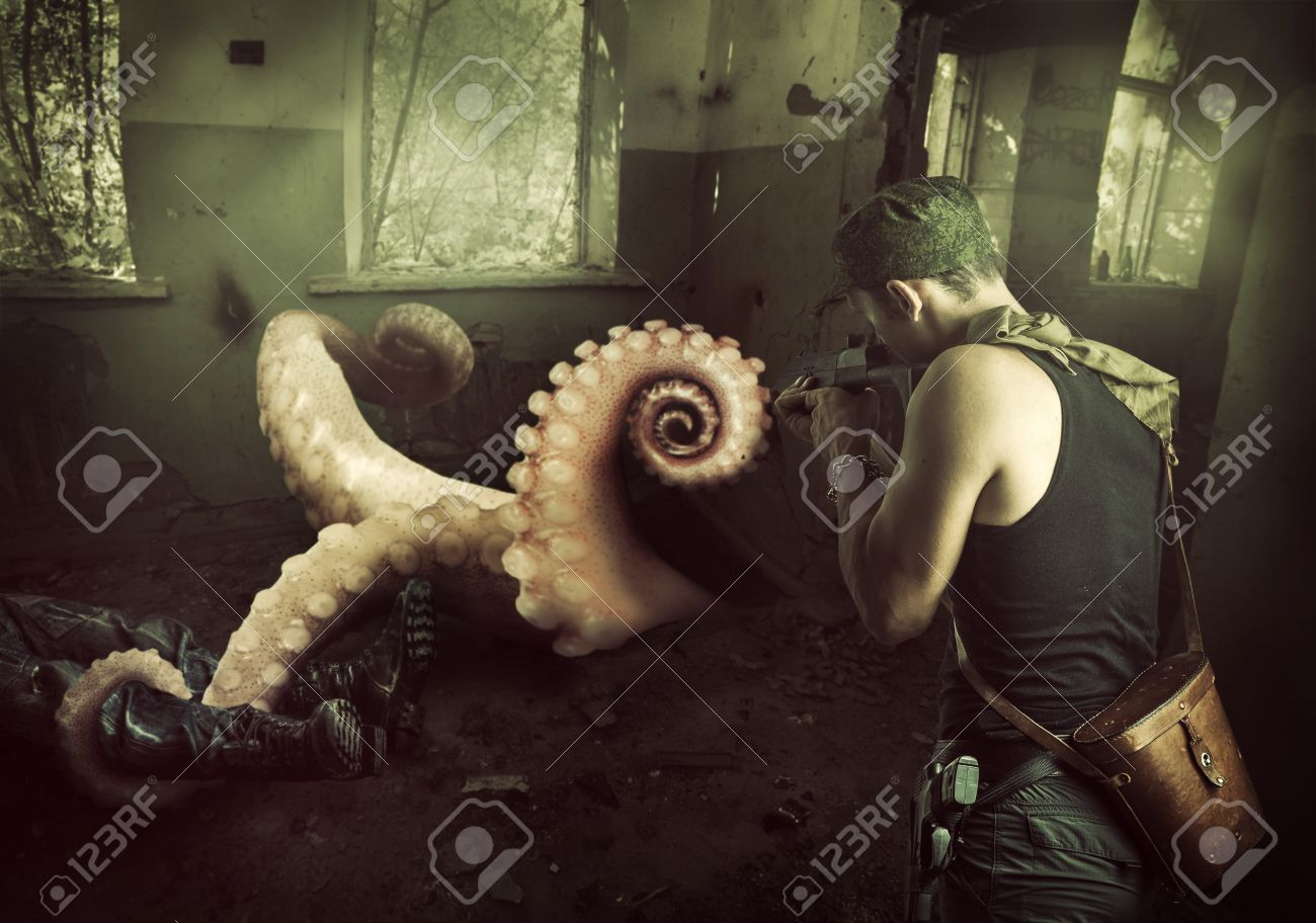 military man shoots machine gun in the tentacles of octopus