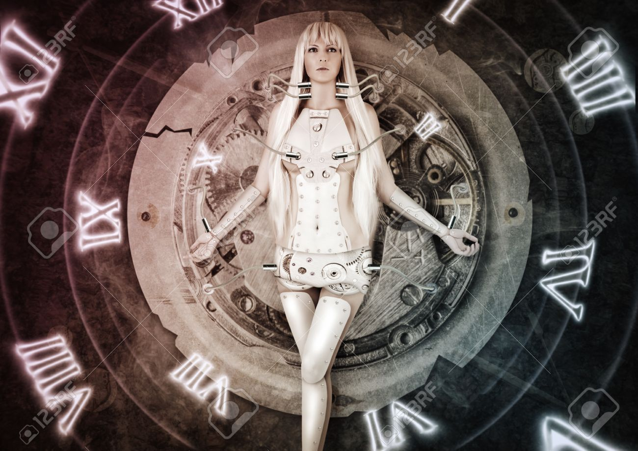 Fantasy futuristic woman exists wires connected to clockwork. time. moving from past to future Stock Photo - 25603074
