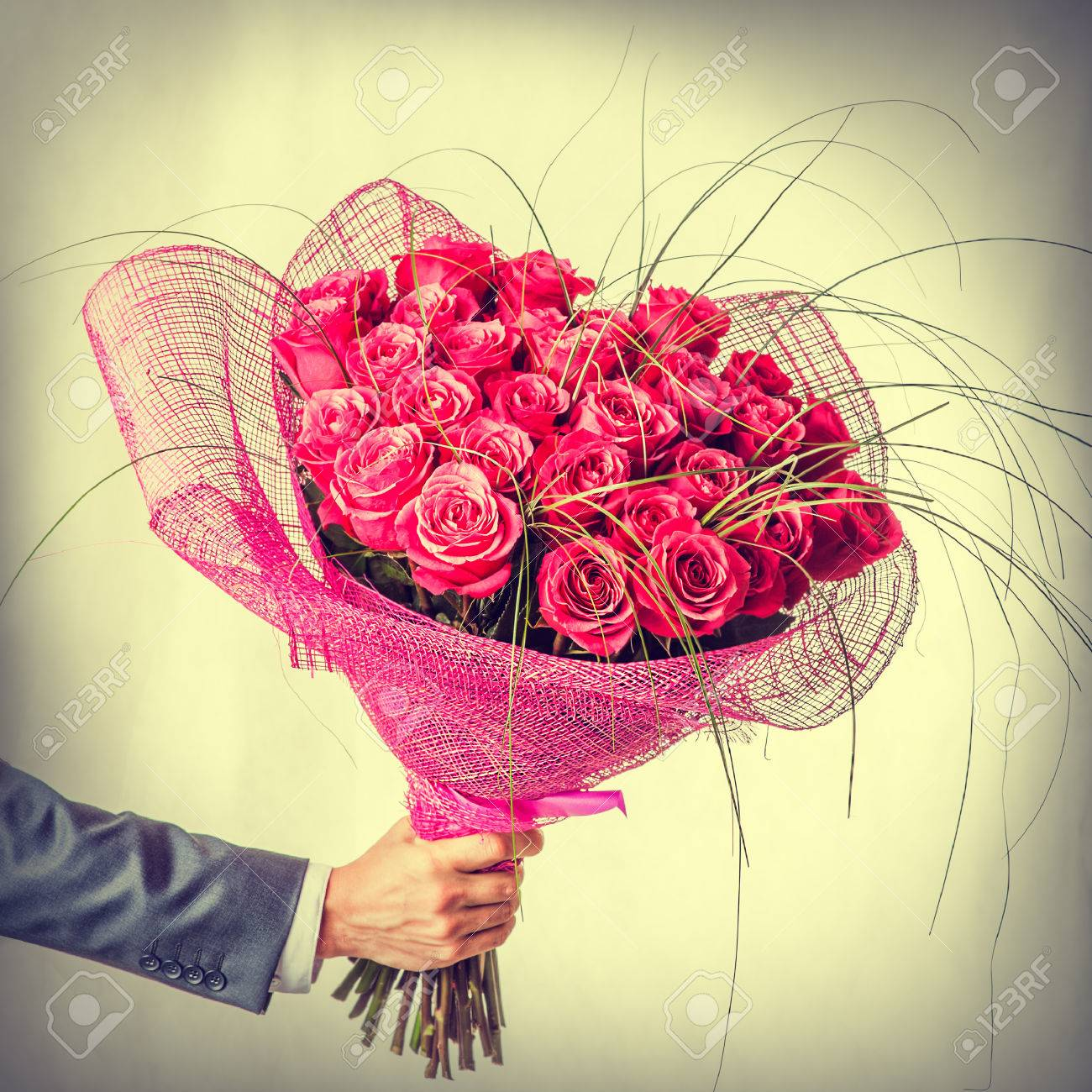 Big Beautiful Bunch Of Flowers - Red Roses In Male Hand. Valentines ...