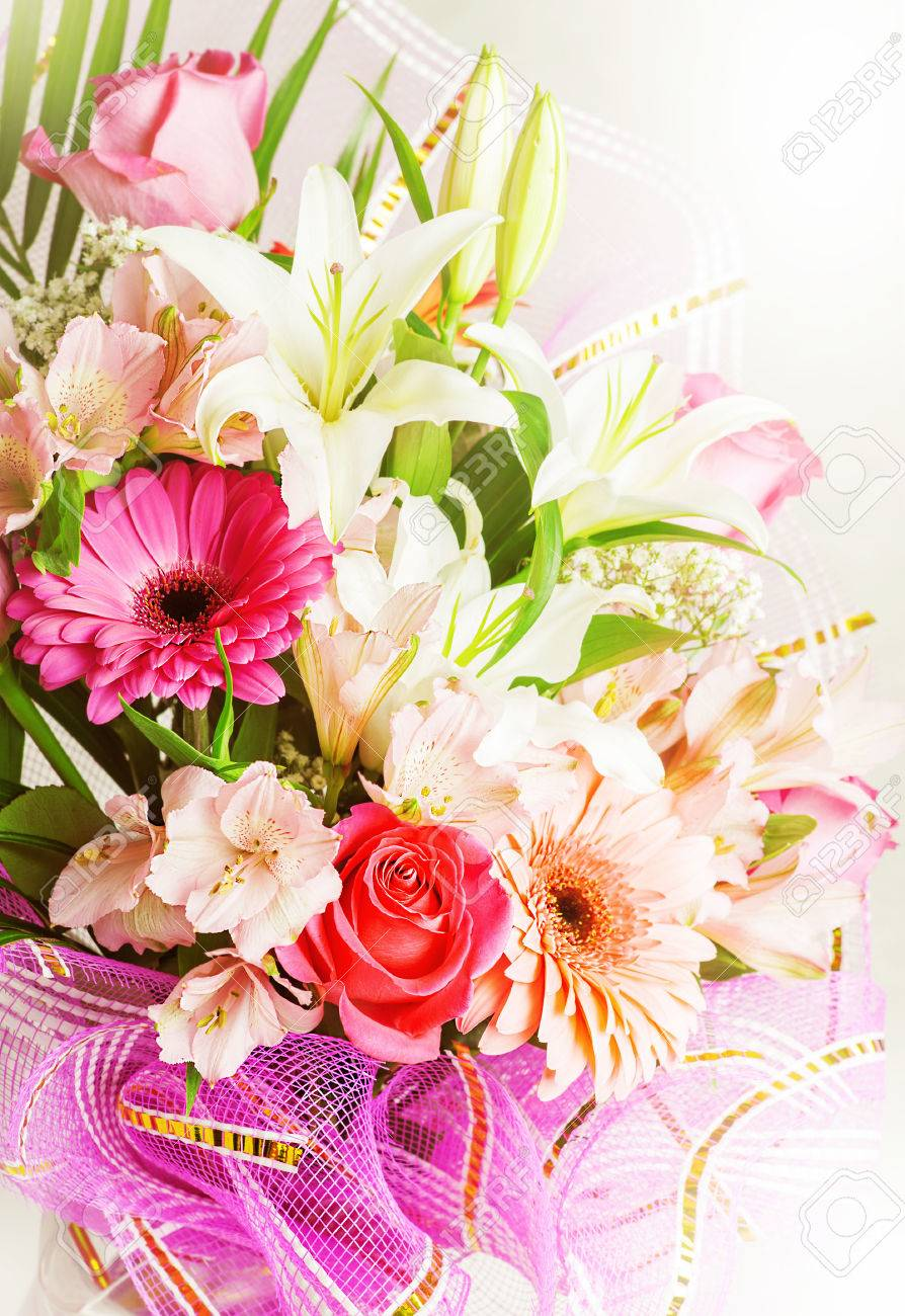 Big Bunch Of Beautiful Bright Flowers Multicolored Floral