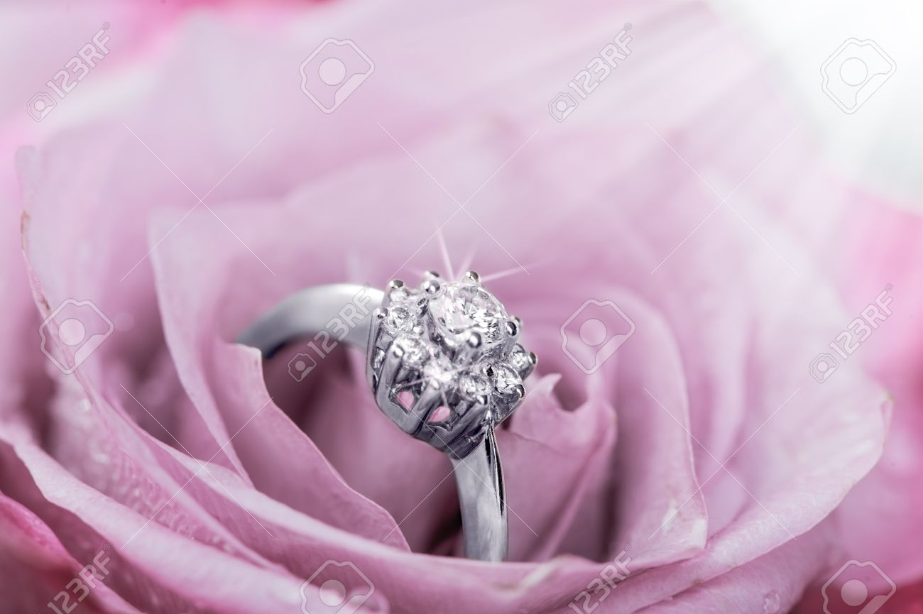 White gold ring with diamonds  inside tender pink rose petals Stock Photo - 36897778