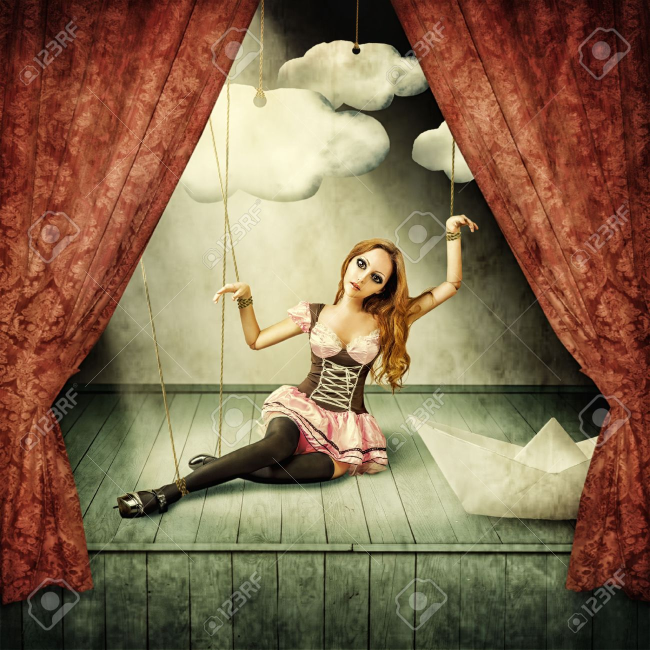 Beautiful woman marionette on stage puppet theater Stock Photo - 40818098