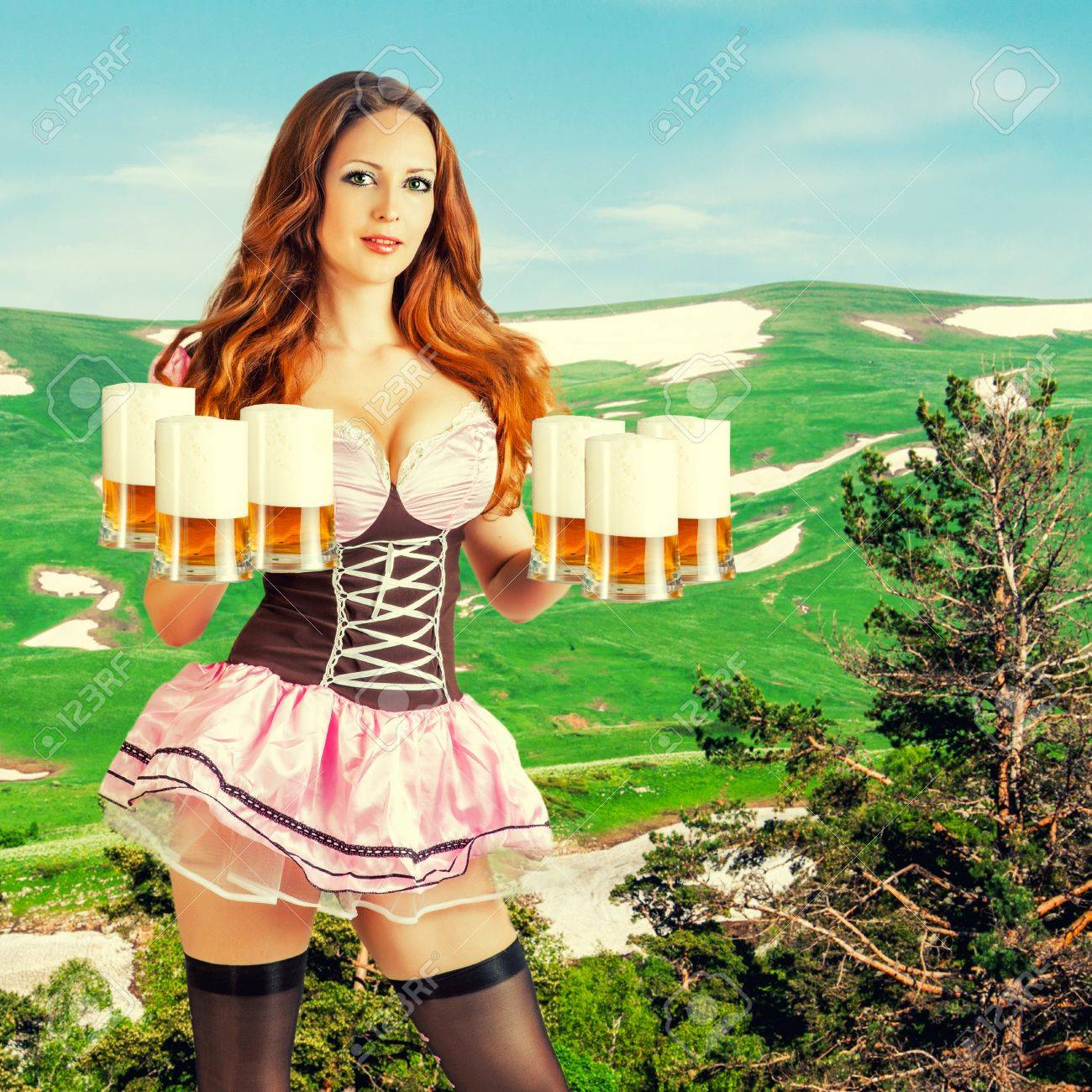 Sexy girl with beer