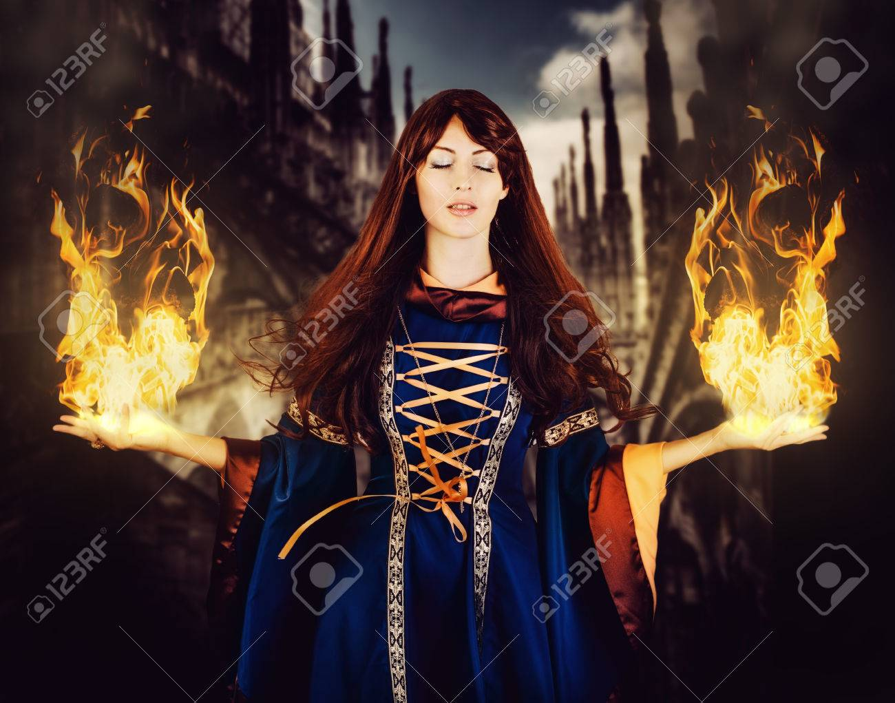 Beautiful Woman Witch In Fantasy Medieval Dress And Long Hair ... for Girl With Fire In Hands  56mzq