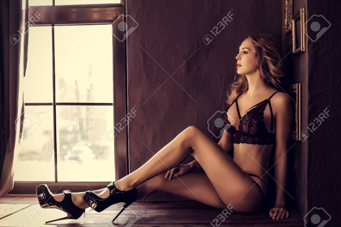 Long legs in lingerie