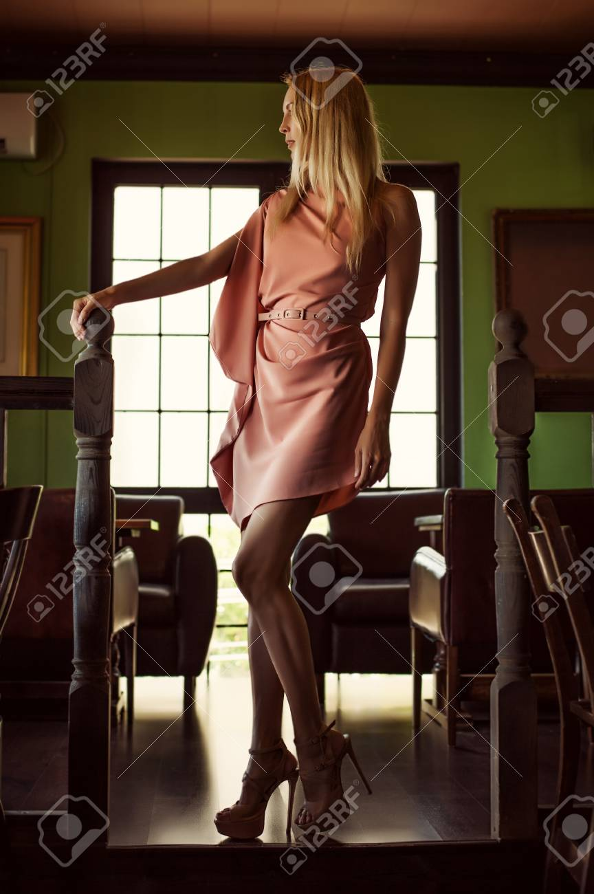 Beautiful Fashion Woman In Asymmetrical Gently Pink Dress In Stock Photo Picture And Royalty Free Image Image 96439866