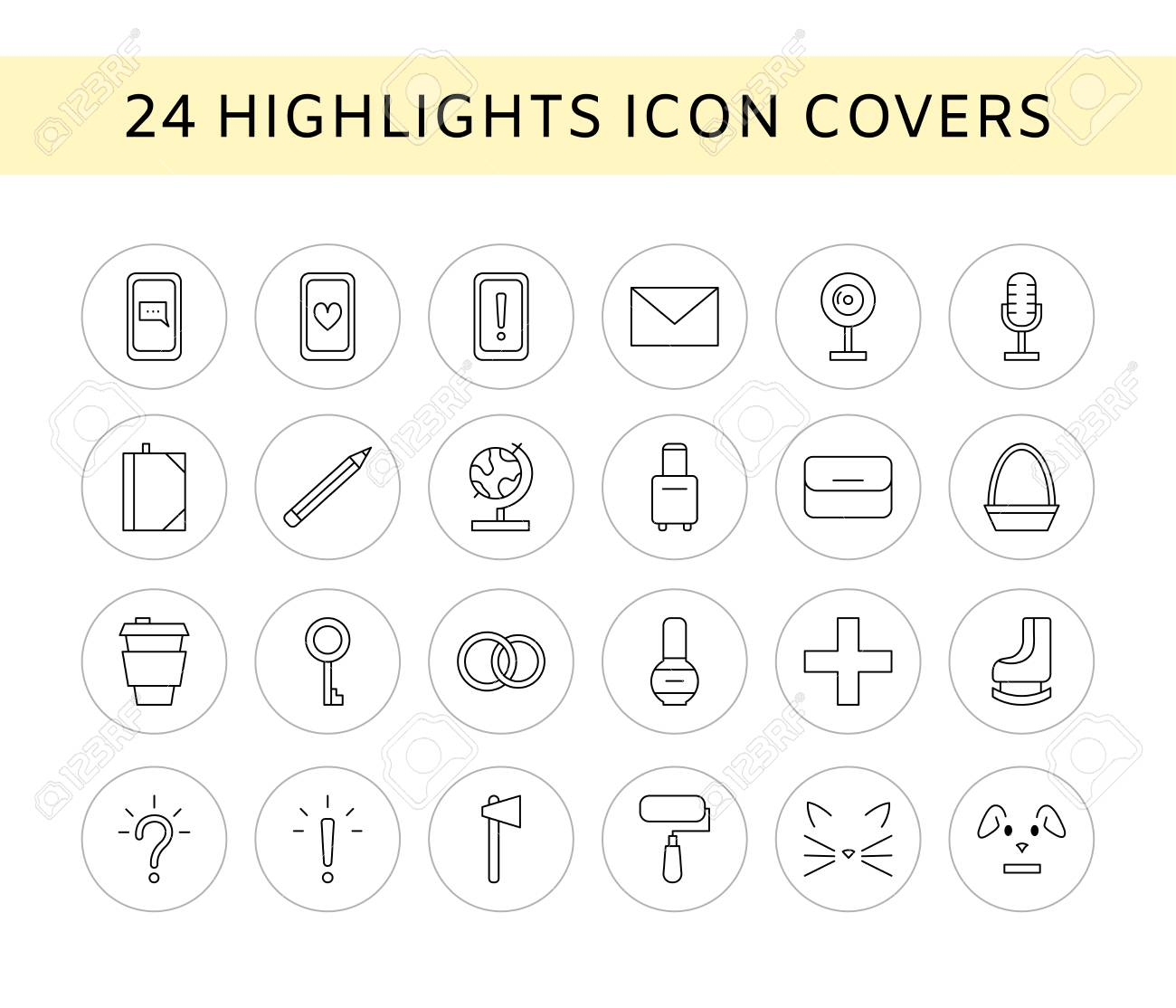 Vector Set Of 24 Line Icons Social Media Story Highlights Covers Royalty Free Cliparts Vectors And Stock Illustration Image 117333779