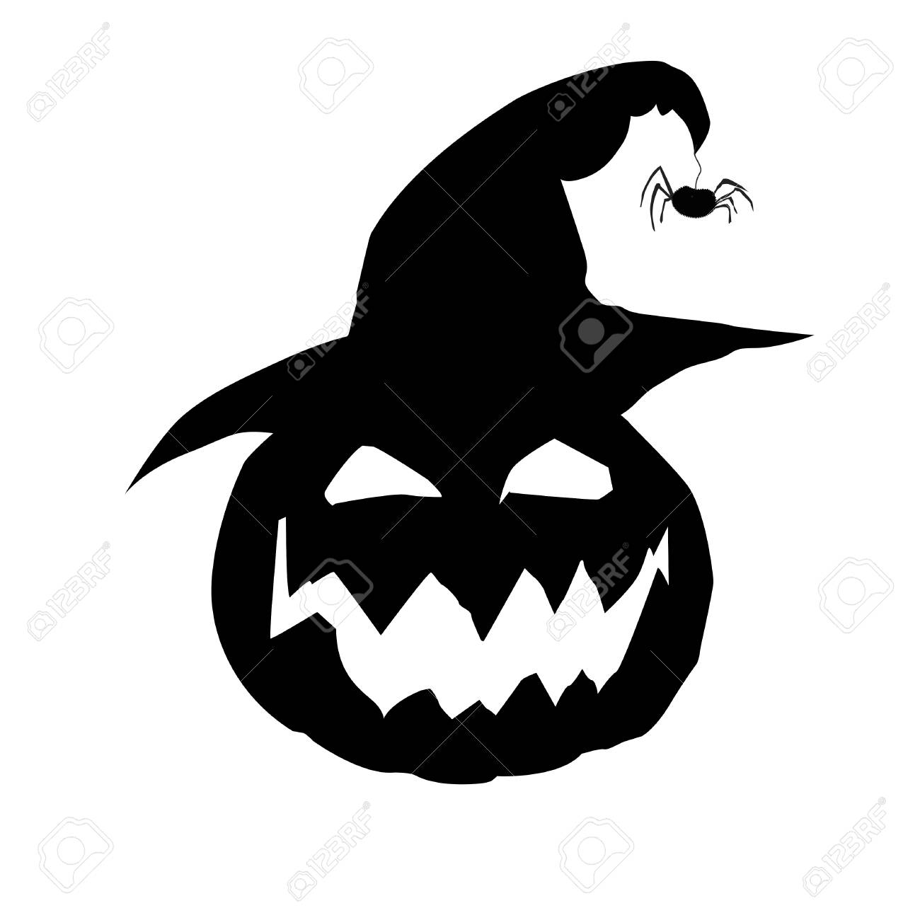 Halloween Vector Illustration Of Scary Pumpkin Jack Face In Witch Royalty Free Cliparts Vectors And Stock Illustration Image 87761951