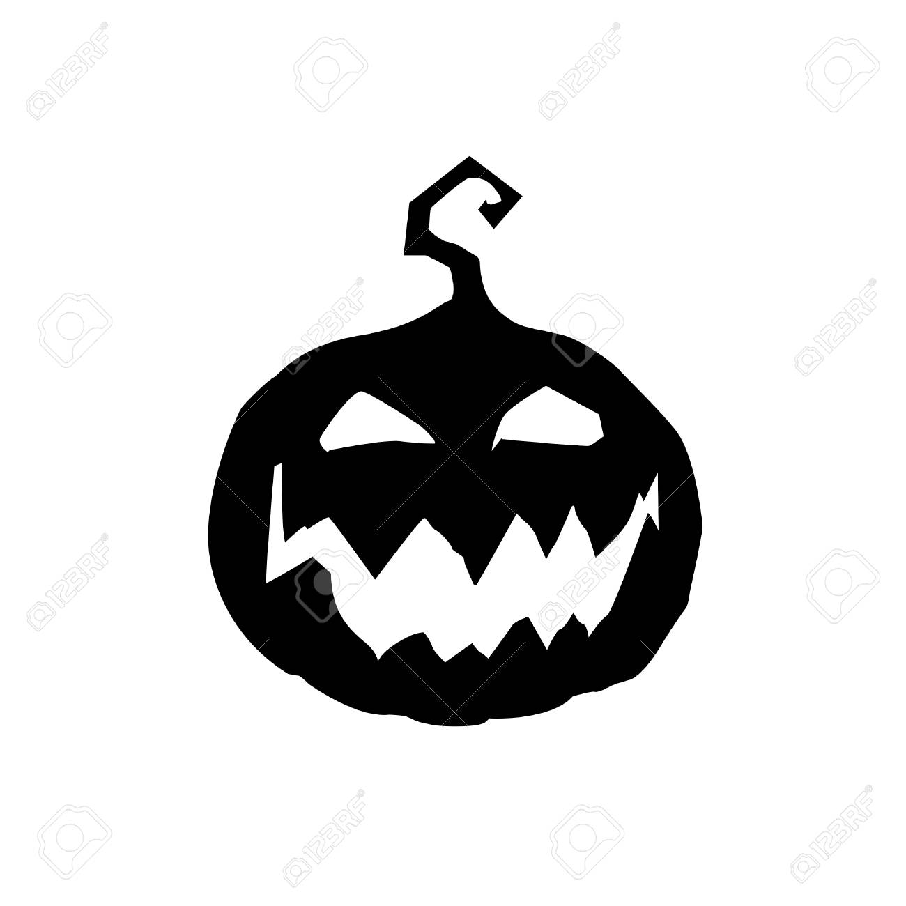 Halloween Vector Black And White.Halloween Vector Illustration Of Scary Pumpkin Jack Face Black