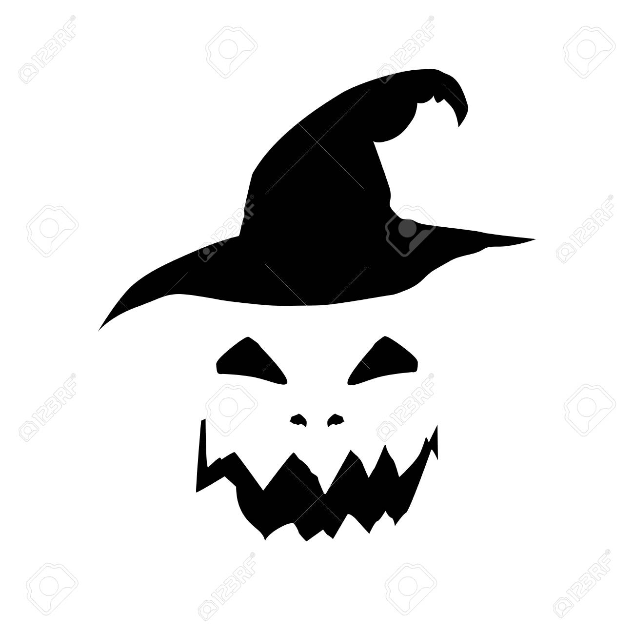 Halloween Vector Black And White.Halloween Vector Illustration Of Scary Pumpkin Jack Face And