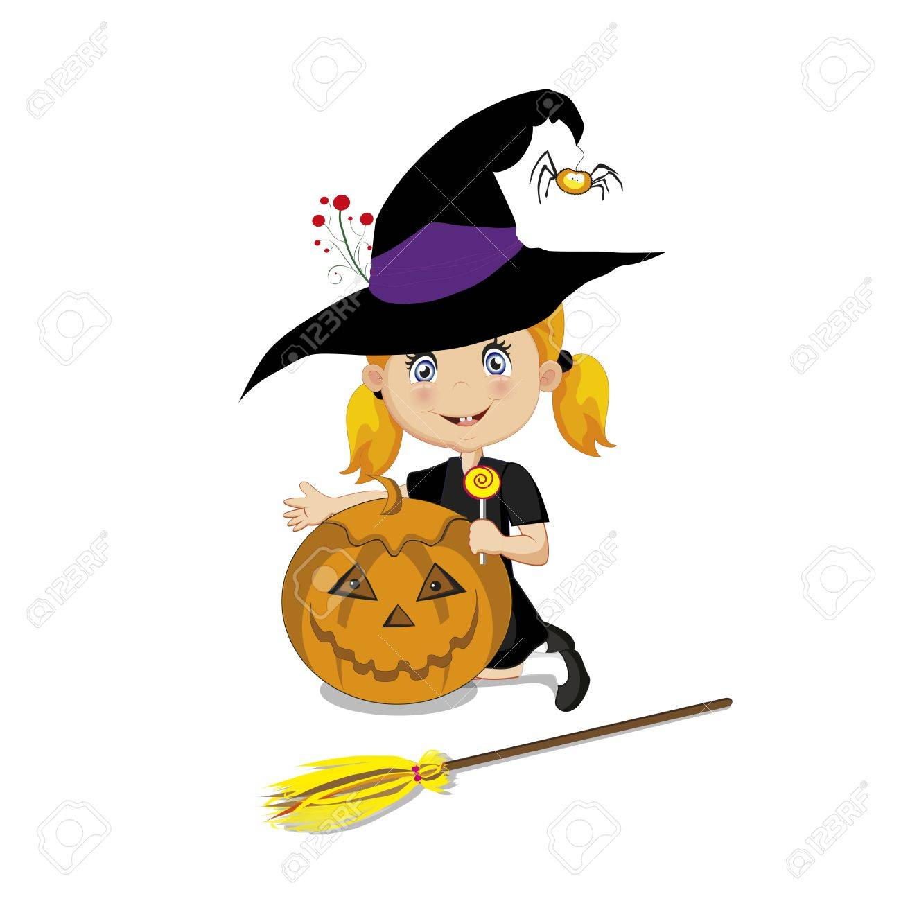かわいいハロウィン カボチャのジャック、ロリポップ、白い背景で隔離のほうきで魔女のベクター イラストです。
