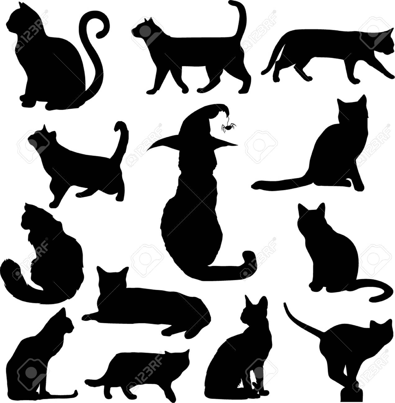 Set Of Black Cats Silhouettes Isolated On White Background Vector Royalty Free Cliparts Vectors And Stock Illustration Image 88362264