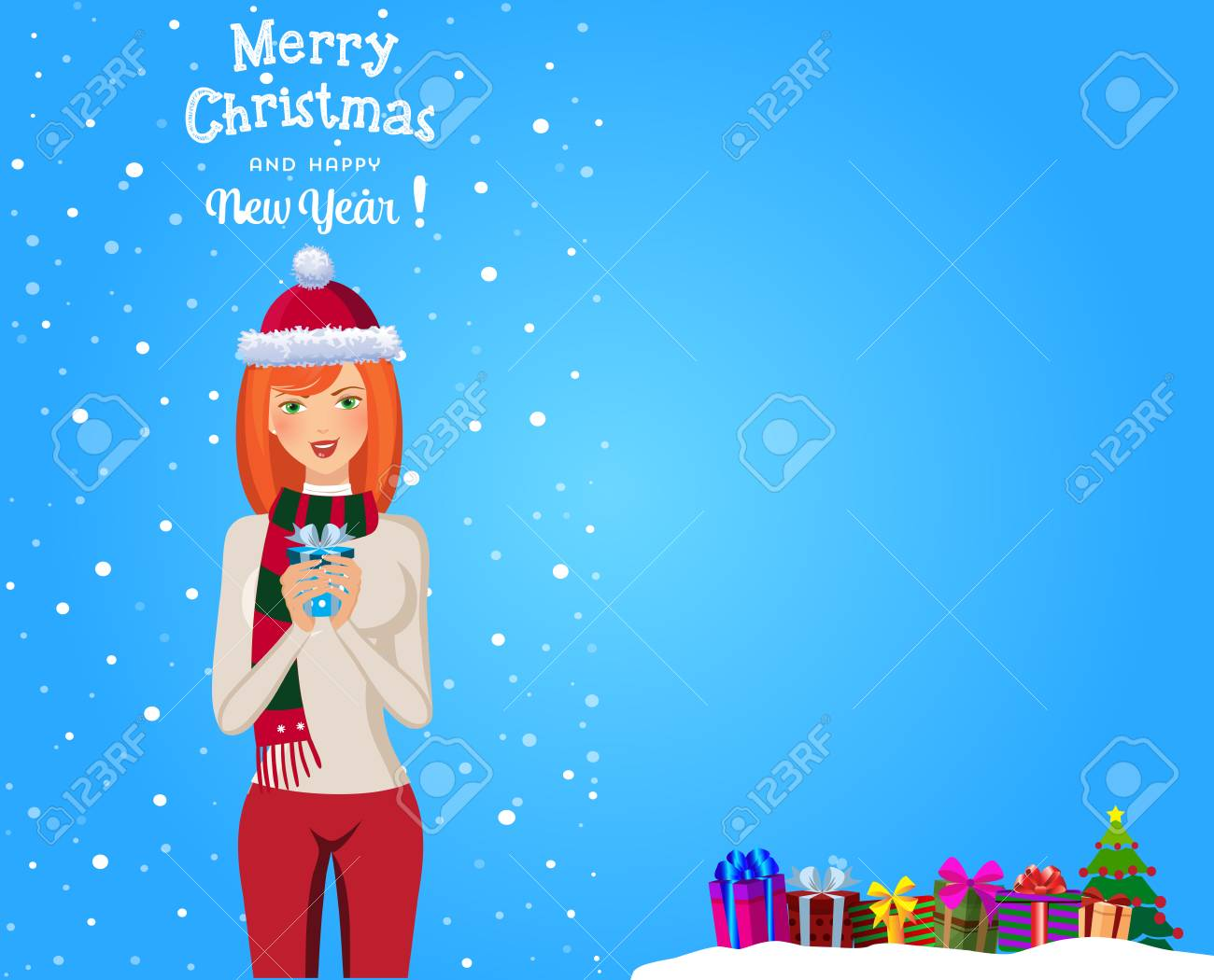 Christmas And New Year Template With Cute Redheaded Girl In Santa ...
