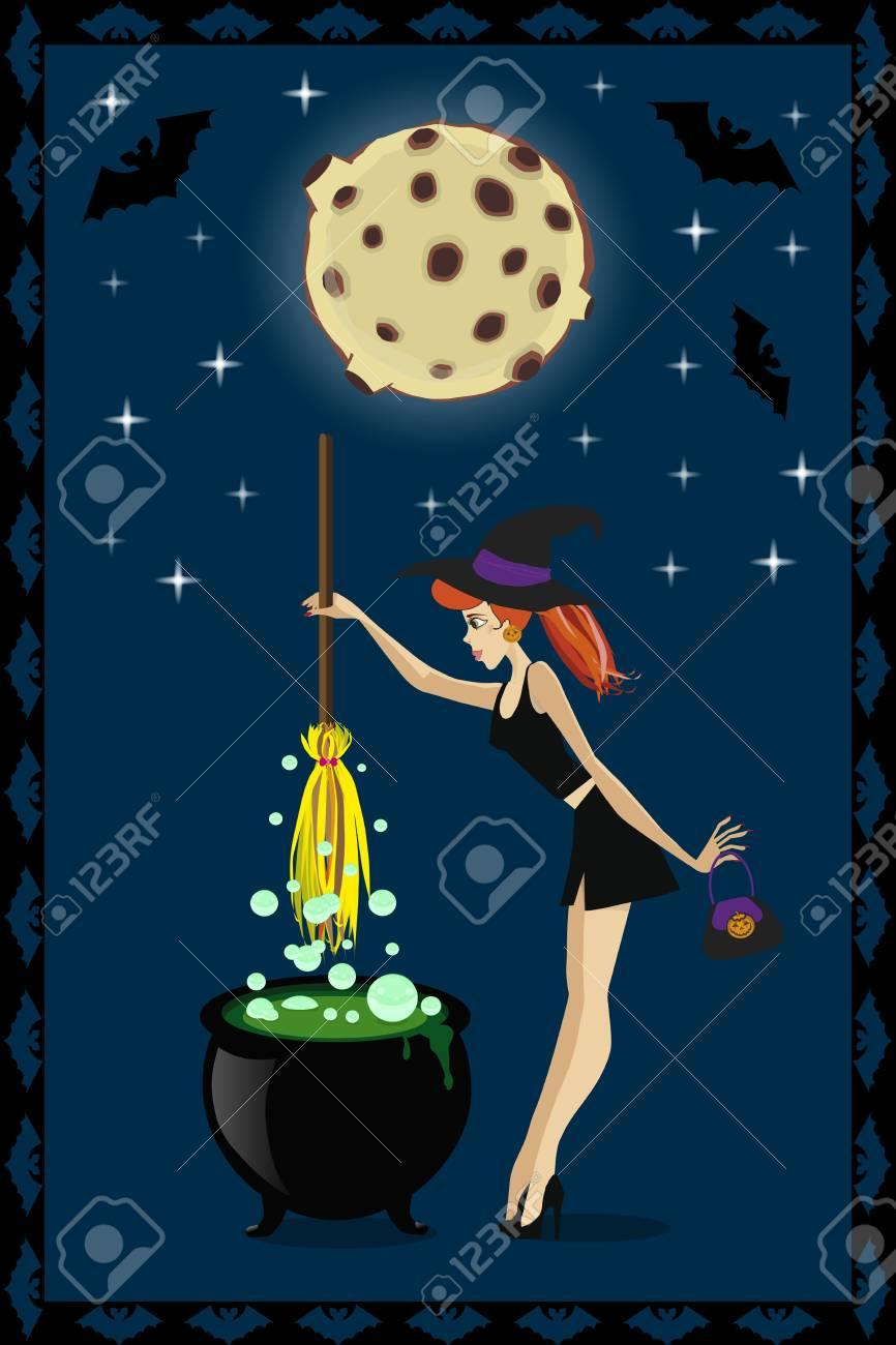 Ilustracao De Halloween Da Bruxa Nova Bonito Com O Caldeirao No