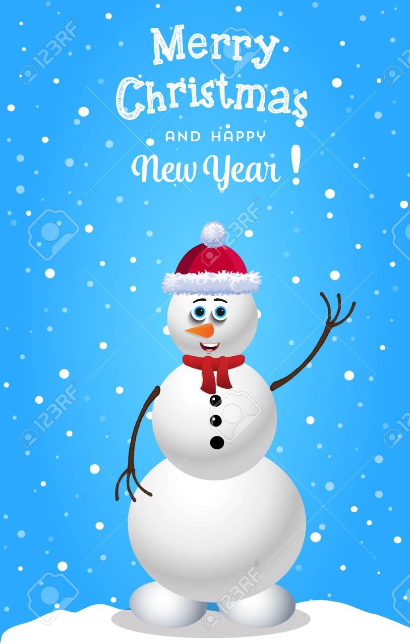 Carte De Noel Et Nouvel An Avec Bonhomme De Neige Dessin Anime