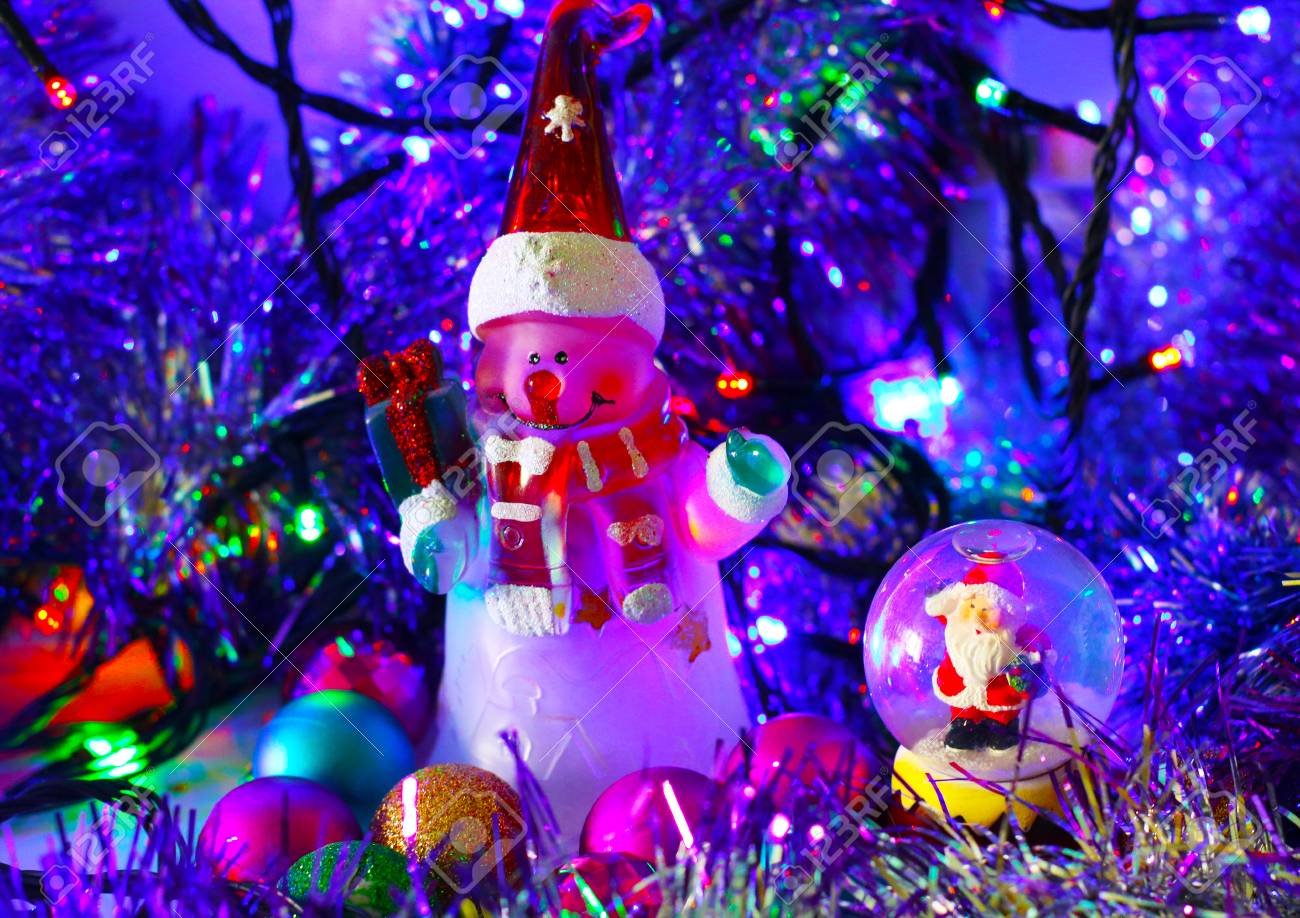 magical christmas and new year card cute snowman and santa claus in glass ball on