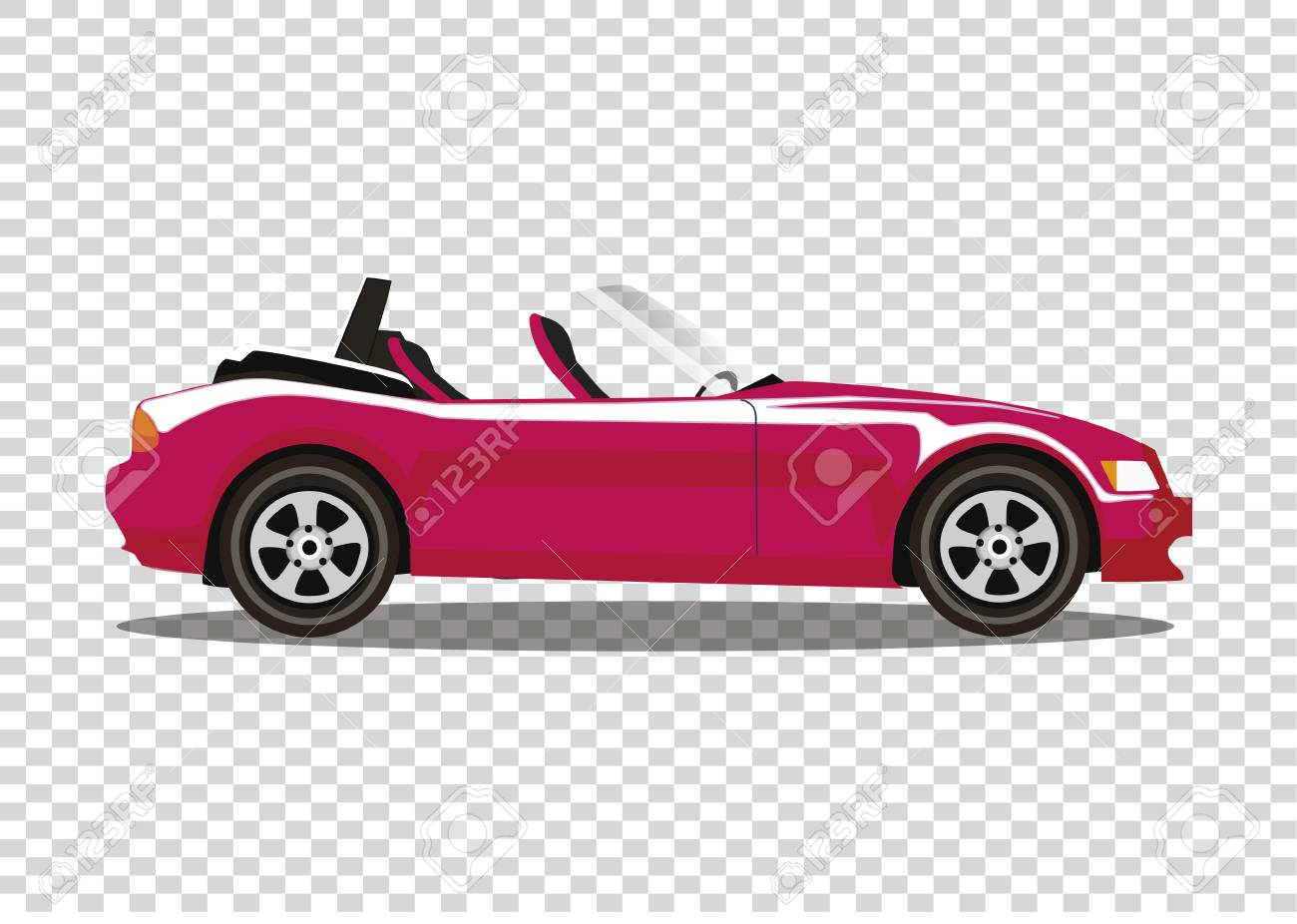Red Modern Cartoon Colored Cabriolet Car Isolated On Transparent