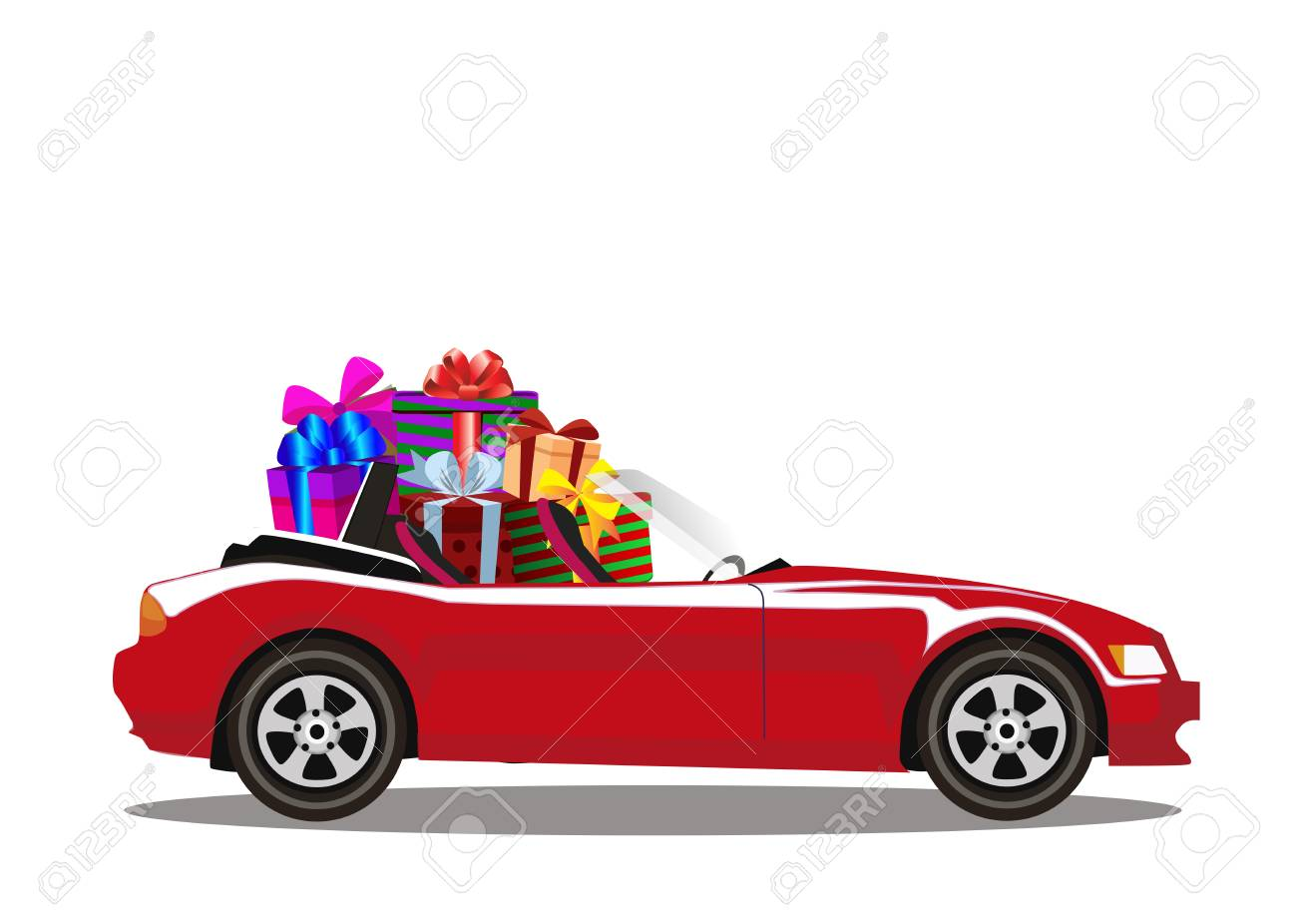 Red Modern Cartoon Cabriolet Car Full Of Gift Boxes Isolated