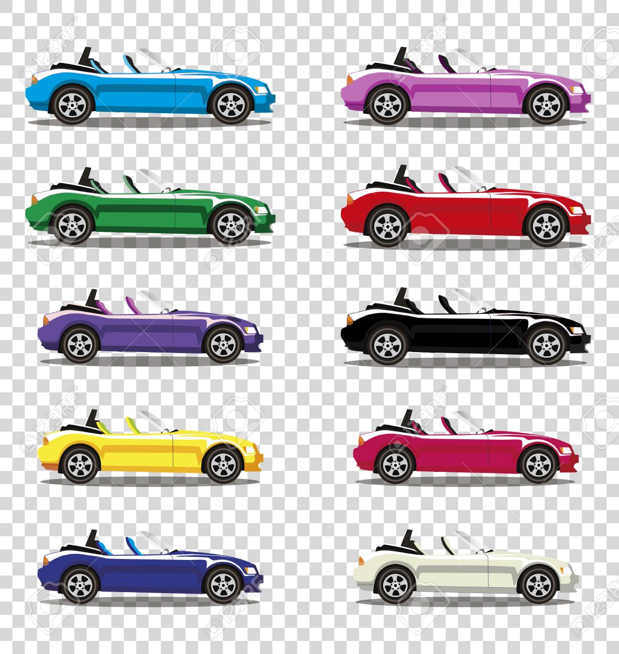 Set Of Modern Cartoon Colored Cabriolet Cars Isolated On Transparent