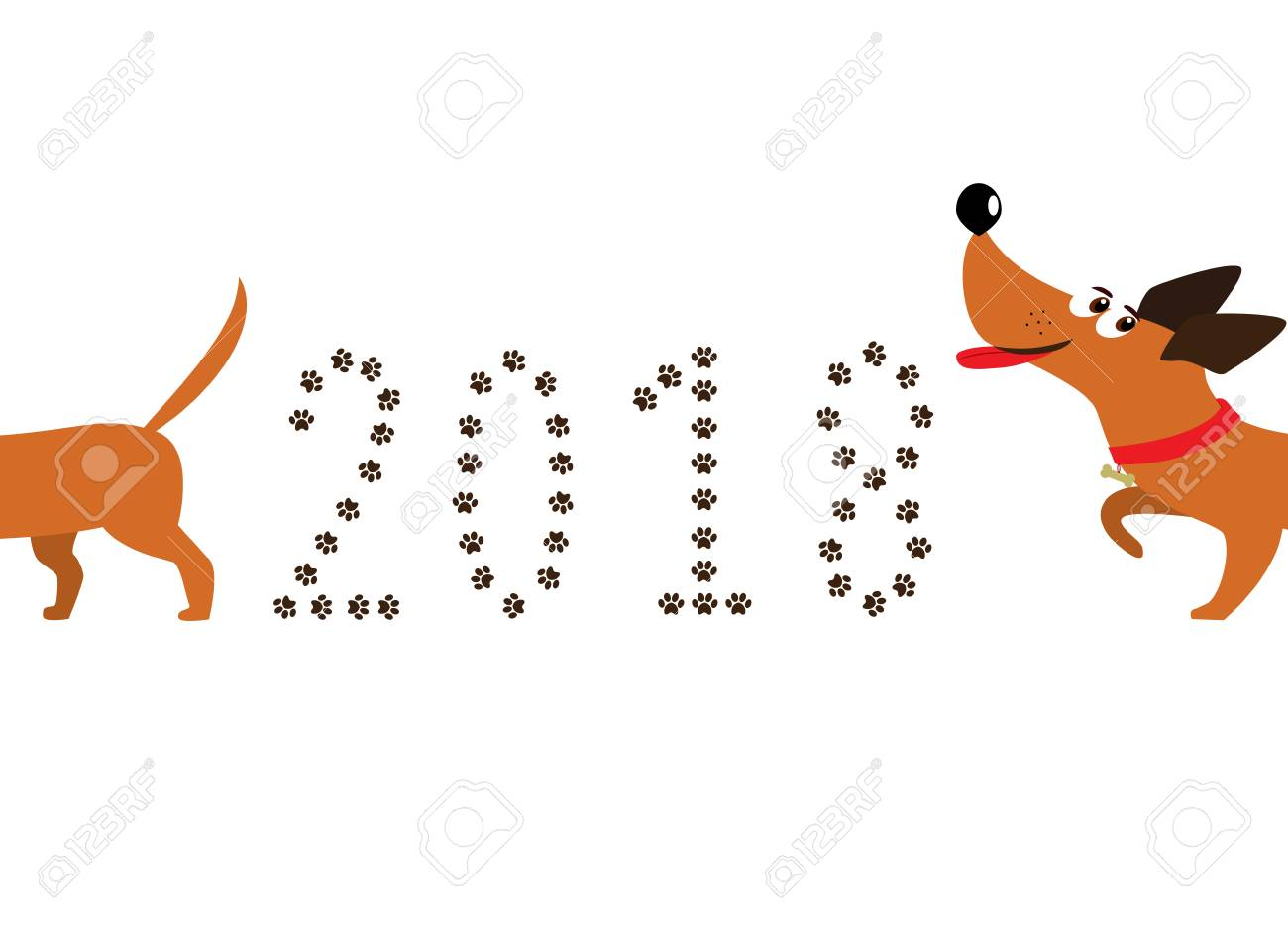 dog symbol of new year 2018 cute cartoon dachshund dog following tail and number