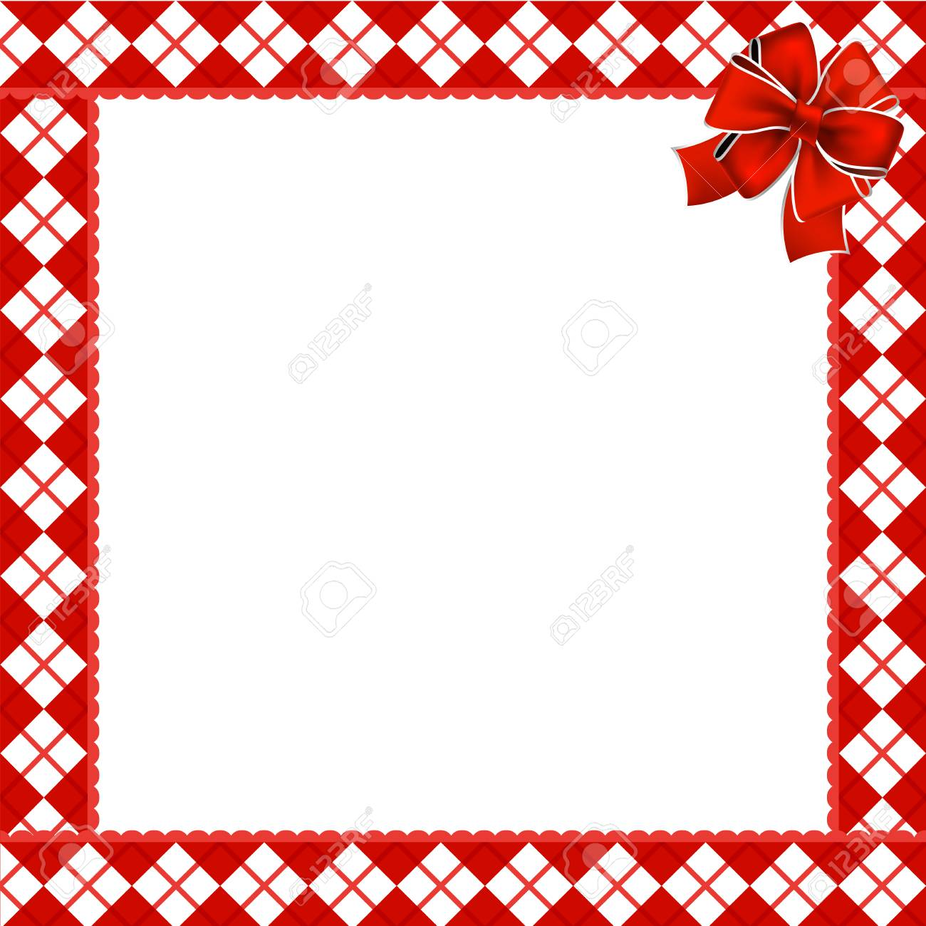 cute christmas or new year frame with red and white diamond pattern decorated with red ribbon