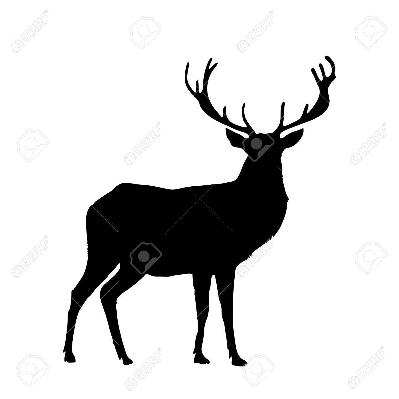 Black silhouette of reindeer with big horns isolated on white background. Vector illustration, icon, clip art, sign, symbol of deer for design. - 90752990
